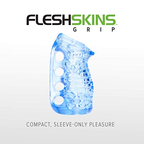 Fleshlight Fleshskins Grip | Blue Ice with Ventilated Case | Couples Fleshlight for Men | Valentines Day Gift for Him