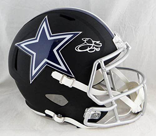 Emmitt Smith Autographed Cowboys Full SIze Flat Black Helmet - Beckett Auth White ()
