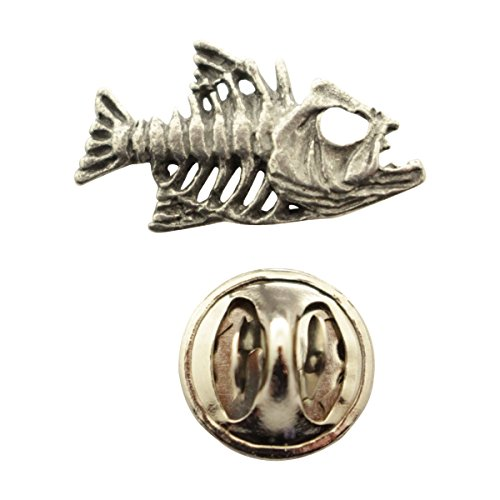Sarah's Treats & Treasures Bony Fish Mini Pin ~ Antiqued Pewter ~ Miniature Lapel Pin
