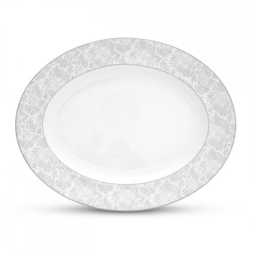 Wedgwood Oval Plates (Wedgwood Vera Chantilly Lace Gray Oval Platter, 13.75-Inch)