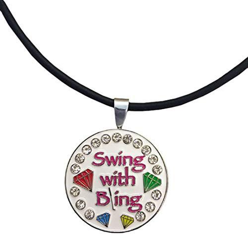 Giggle ゴルフ ブリングスイング ブリングホワイト磁気ゴルフボールマーカーネックレス 女性用   B07JK28CYM