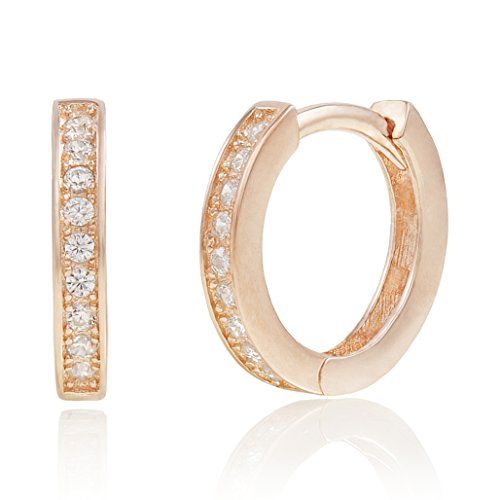 Cupid White Gold Ring - 14k Rose Gold Plated Sterling Silver Prong set Cubic Zirconia Small Huggie Hoop Cartilage Earrings