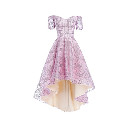 Dresses Gowns Evening Homecoming Women's Pink DKBridal High Glittering Bridesmaid Tulle Low BXnCaz