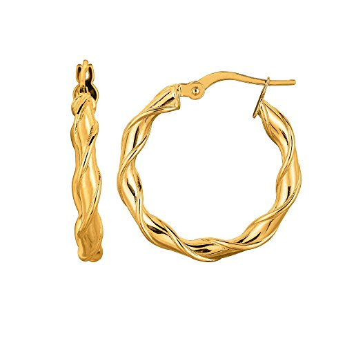 MCS Jewelry 14 Karat Yellow Gold Twisted Round Hoop Earrings ( 25mm Diameter ) Napier Twisted Bracelet
