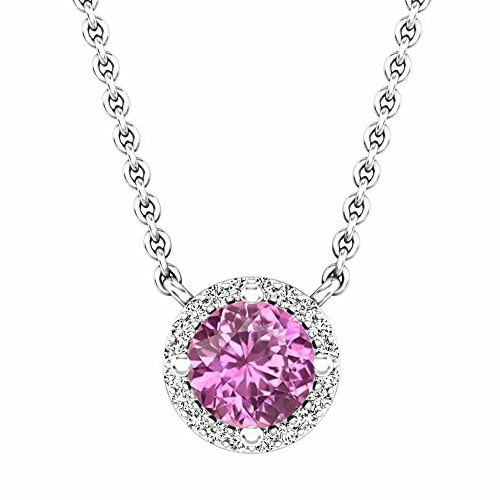 14K White Gold Round Pink Sapphire And White Diamond Ladies Halo Pendant (Silver Chain Included)