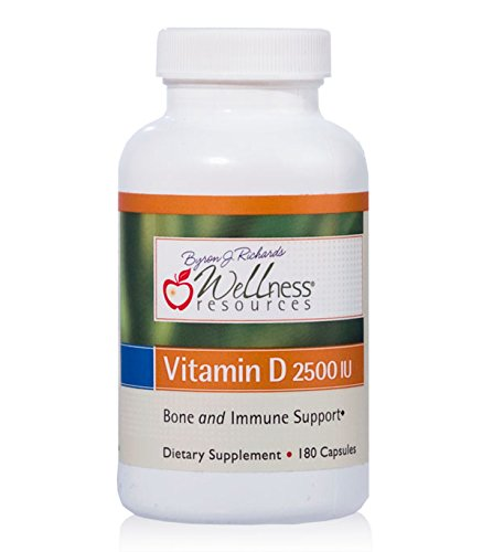Wellness Resources Vitamin D - 2,500 mg Soy-free Vitamin D3 (180 Veggie Capsules)