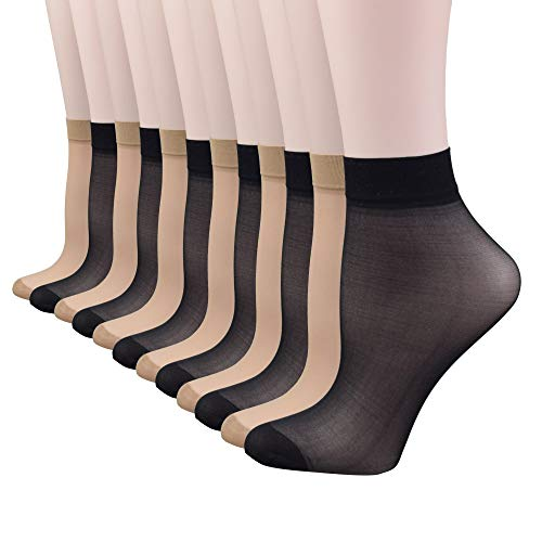 Fitu Women's 30D Sheer 12 Pairs Nylon Ankle High Tights Hosiery Socks (6 Black 6 Beige)