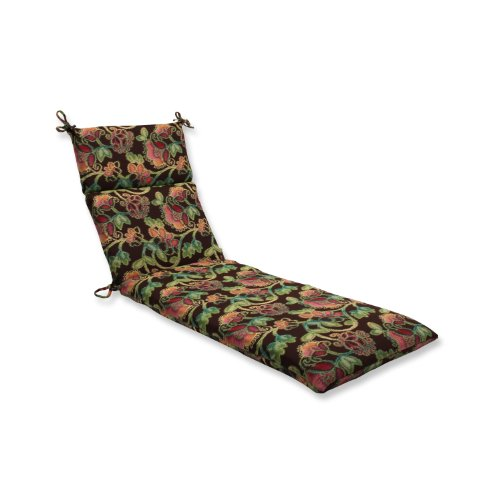 Pillow Perfect Indoor/Outdoor Chaise Lounge Cushion with Sunbrella Vagabond Paradise Fabric, 72.5 in. L X 21 in. W X 3 in. D