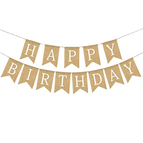 Happy Birthday Burlap Banner for Birthday Decorations Birthday Party Supplies (white alphabet) SG052]()
