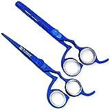 "Macs Professional Blue Titanium Barber Scissor Razor Edge Hair Cutting Scissors 6.5"" and Texturizing /Thinning Shears 6.5"" Scissors Set with Free Custom Setting Black Leather Case-14038"