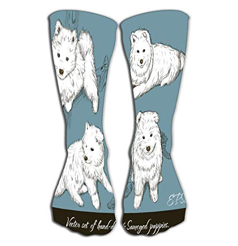 (Outdoor Sports Men Women High Socks Stocking Vintage Set Samoyed Puppies Tile Length 19.7