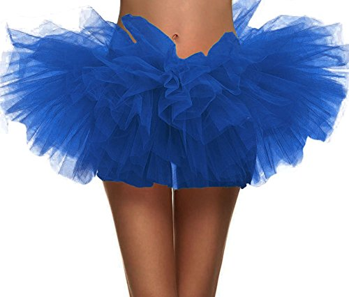 Tulle Tutu (Adult Dance Vintage 5 layer Ballet Tutu Skirt Great for Running and Races, Royal Blue)