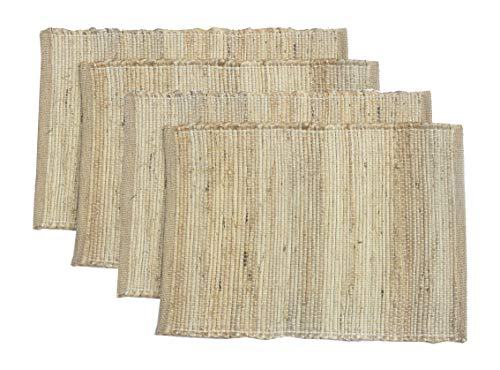 (Chardin Home  Eco-friendly Natural Jute/ Hemp Placemats (set of 4 mats). Size: 13