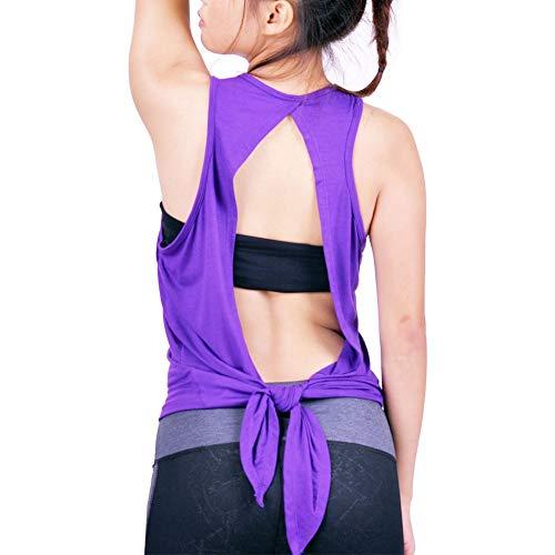 shirt Back allenamento viola maniche da Open Donna Abbigliamento reggiseno Routine Tying The Lofbaz Yoga senza Top T wIFUqxfI