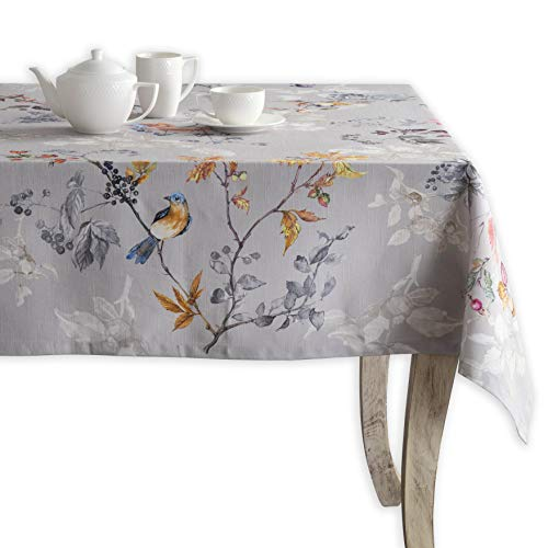 Maison d' Hermine Equinoxe 100% Cotton Grey Tablecloth 60 Inch by 120 -