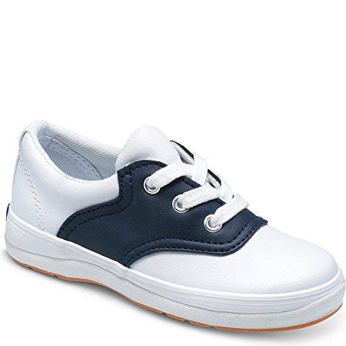 Keds School Days II Sneaker (Little Kid/Big Kid),White/Navy,1 M US Little Kid