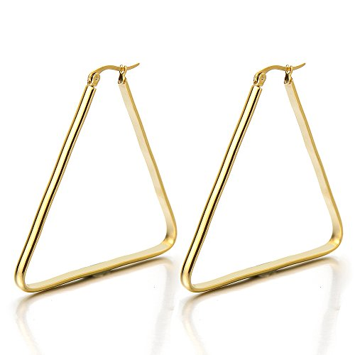 Stainless Triangle Huggie Hinged Earrings