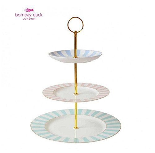 Bombay Duck Vintage Stripy Striped 3 Tier Cup Cake Stand (Afternoon Tea Plate)