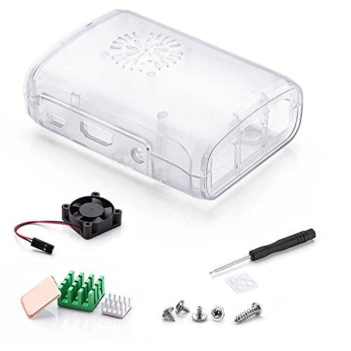 Raspberry Pi 3 Fan Case, Aukru Clear Case with Cooling Fan Heatsink for Raspberry Pi 3 Model B Accessories Pi 2 Model B + Desktop Starter Kit (Transparent Case, Cooling Fan, Heat sink) by Aukru (Image #8)
