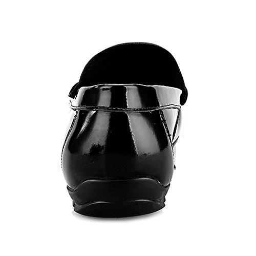 Slip Cubierta Caminar Black Cuero De Conducción para para De Brillante Zapatos Zapatos Moccasins Plana De De Zapatos Hombre Barco MERRYHE On De 1RwI8aqx