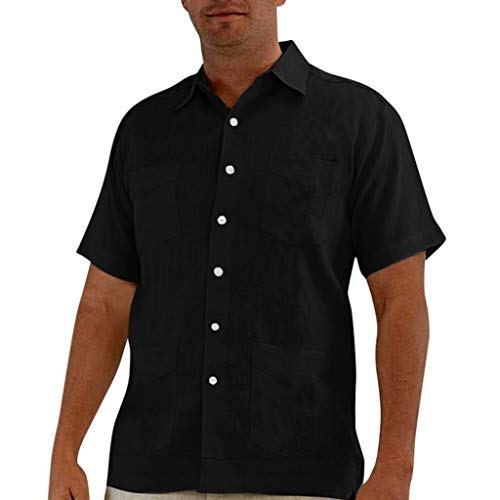 Fastbot Men Shirts Short Sleeve Polo Shirt Button Down Slim fit Baggy Cotton Linen Solid Muti-Pocket Short Turn-Down Collar Black