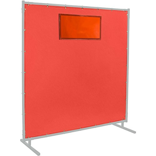 Steiner 384-338-6X6 Protect-O-Screen HD Weld-View 16-Ounce Curtain with ArcView Flame Retardant Orange Tinted Viewing Window, Red, 6