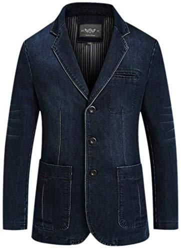 Pour En Taille Col De Jean Kangqi couleur Avec Medium Vêtements Denim Classique Blazer 1 Hommes q5cXwc1A