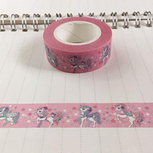 FidgetFidget - Rollo de Cinta Adhesiva de 10 m con diseño de Unicornio, Color Rosa