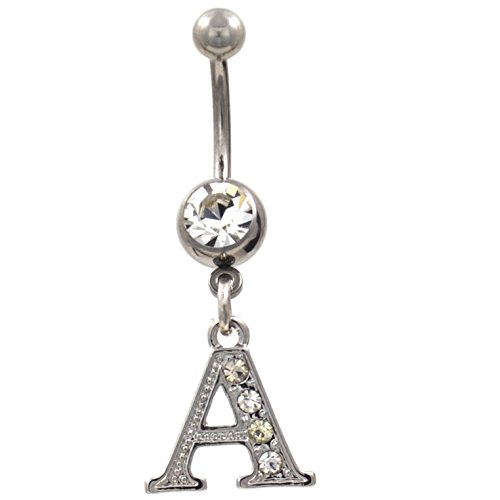 Initial Letter A Clear Gem Decorated Belly Button Ring ()