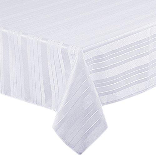 Satin Stripe Weave No-Iron Soil Resistant Fabric Tablecloth, 52 X 70 Oblong, (Satin Stripe Fabric)