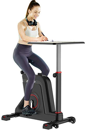 Pooboo Exercise Bike Desk Cycle Standing Desk Bike, 8 Magnetic Resistance, Height Adjustable, Super Quiet for Home…