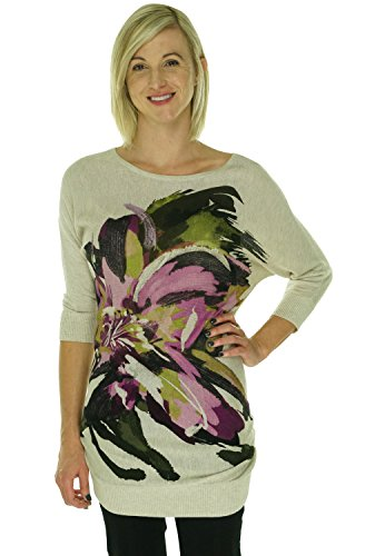 INC Womens Floral Batwing Tunic Sweater Beige L (Inc Concepts Clothing compare prices)