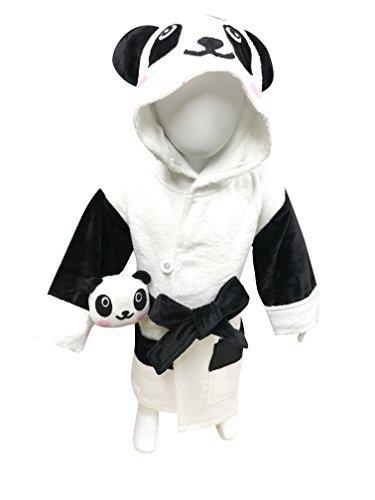 MINERVA Baby&Kids Panda Bathrobe & Plush Toy Gift Set For 2 ~ 8 Years Old 100% Virgin Cotton (M)