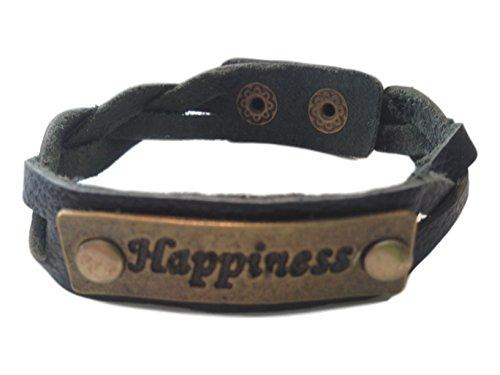 Charming 'Happiness' Black Leather Expression Snap Bracelet - Jb Vintage Bracelets