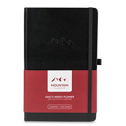 Mountain Daily Planner – Best Daily & Weekly Gratitude Journal + Monthly Calendar. Achieve Goals, Increase Productivity & Happiness in 2019. Hardcover + Pen Holder. 6 Months Undated Days - Black