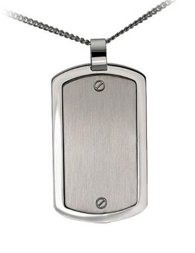 """CleverEve Designer Series Stainless Steel Mens Brushed & Polished Dog Tag Pendant Necklace w/ Screws Sccent & 24"""" Curb Chain"""