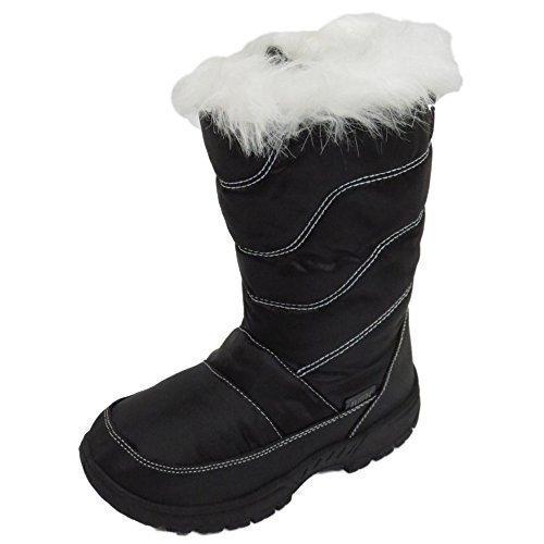 Mädchen Kinder Schwarz Winter Warm Fell Zip Eis Schnee Regen Ski Thermo Stiefel Größen 10-2