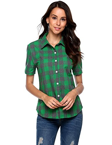 SUNAELIA Womens Plaid Flannel Shirt Short Sleeve Boyfriend Button Down Cotton Casual Blouse Check Gingham Top S-XXL Grey ()