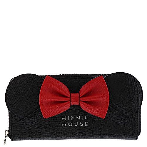 Loungefly x Disney Minnie Ears Bow Zip Around Wallet (Black, One Size) ()