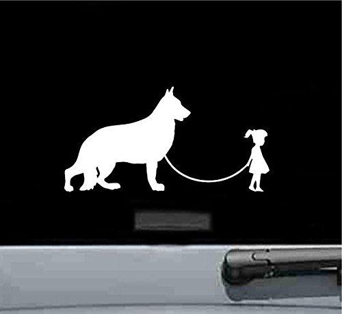 Shepherd Sticker Dog (Girl Walking A German Shepherd Dog Vinyl Decal Sticker (WHITE))
