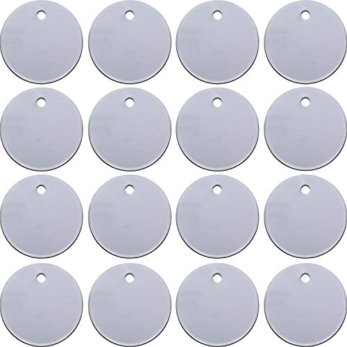 SATINIOR 100 Pieces Stamping Blank Tags, 1 Inch Round with Hole Aluminum Blanks ()