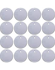 SATINIOR 100 Pieces Stamping Blank Tags, 1 Inch Round with Hole Aluminum Blanks Tags