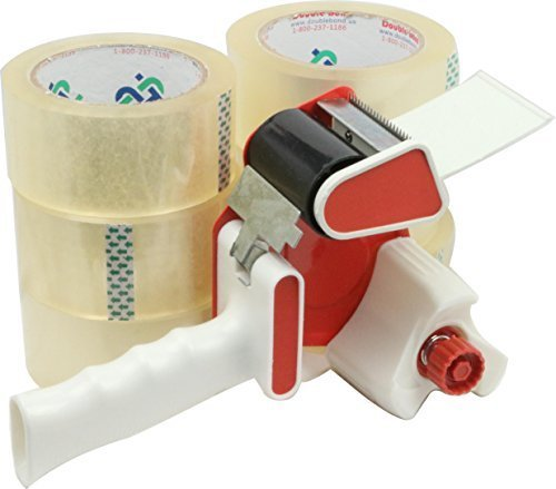 Packing Tape Dispenser with 6 Rolls of Thick (2.6 Mil) Commercial Grade Packing Tape