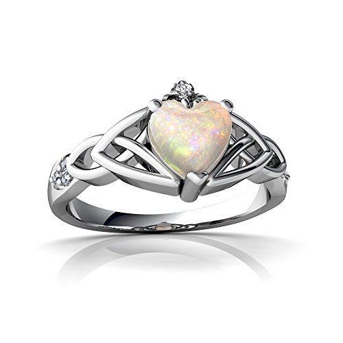 14kt White Gold Opal and Diamond 6mm Heart Claddagh Trinity Knot Ring - Size 7 (Gold Ring Claddagh Knot)