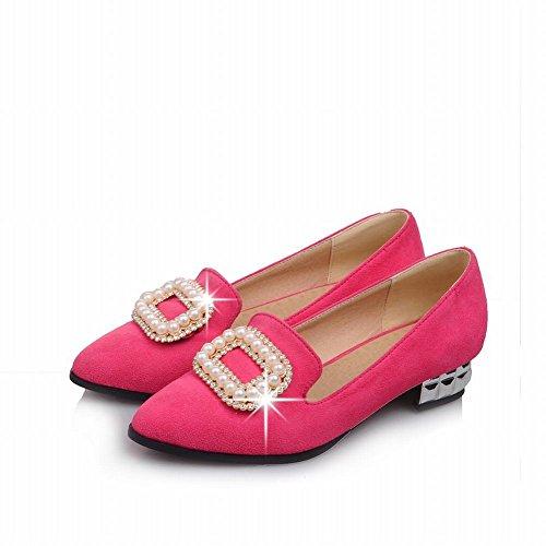 Carol Scarpe Moda Donna Perline Bling Bing Strass Punta A Punta Tacco Basso Vestito Pompe Scarpe Rosa Rossa
