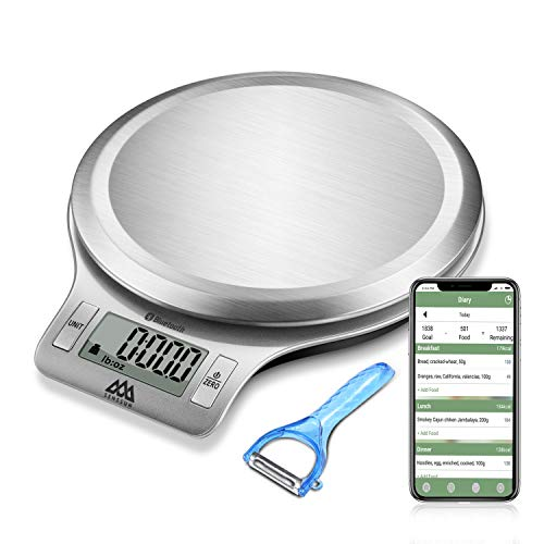 Senssun Nourish Digital Kitchen Food Scale with Vegetable Peeler - Smart Nutrition Scale with App, Tracking Calories Intake, Bluetooth(Silver)