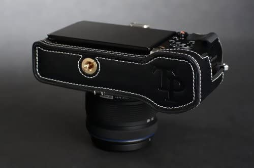 Handmade Genuine real Leather Half Camera Case bag cover for Olympus EP5 E-P5 Black color