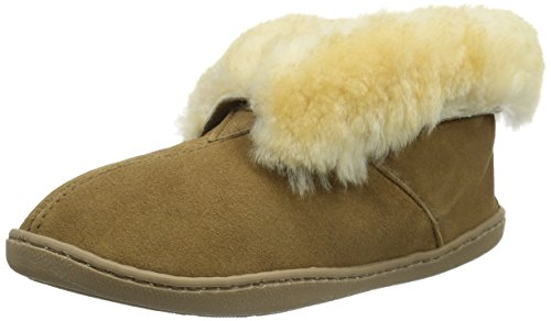 Minnetonka Women's Sheepskin Ankle Boot Golden Tan Slipper 7 M (Slippers Boot Sheepskin Ankle)