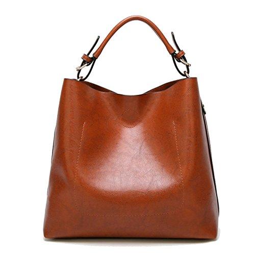 Womens Hobo Bag Durable Leather Tote Messenger Bag Shoulder Handbag Crossbody Bags for Ladies (Brown)