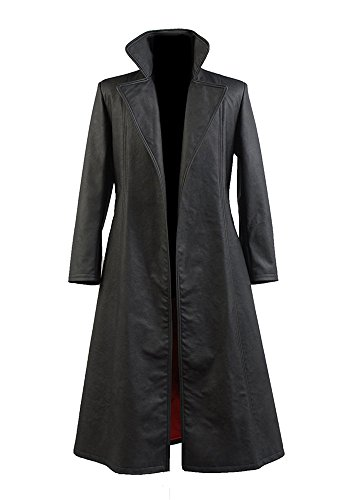 VOSTE Halloween Cosplay Costumes Black Long PU Leather Overcoats for Men (Large, Black) by VOSTE (Image #1)
